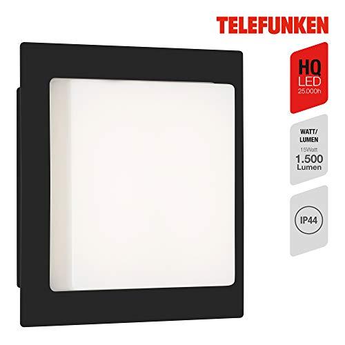 Telefunken - LED Außenwandleuchte, Außenwandlampe 1-flammig, 15 Watt, 1.500 Lumen, 4.000 Kelvin, IP44, Weiß/Schwarz, Quadratisch, 300x300x58mm (LxBxH)