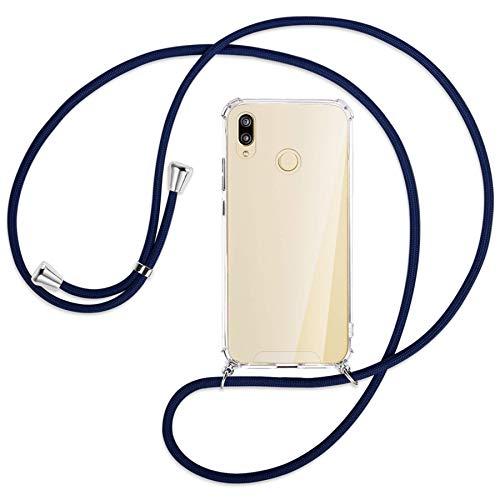 mtb more energy Collana Smartphone per Huawei P20 Lite (5.84'') - Blu Scuro - Custodia Protettiva indossabile per Collo - Anti Shock TPU Case Cover Cordoncino Tracolla