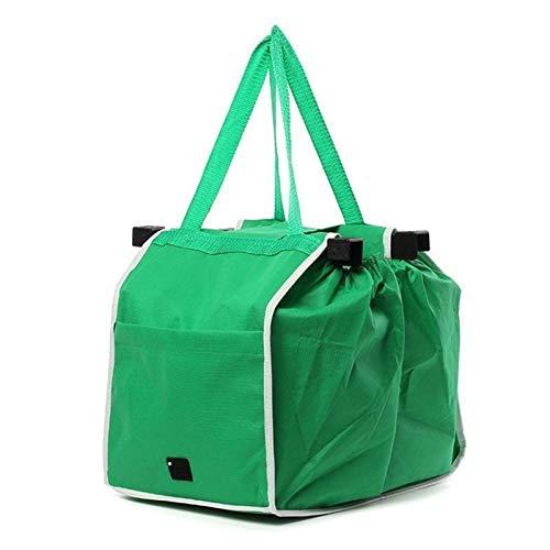 Renxiaoliangqhdz Bolso de Compras Logable Reutilizable Gran Trolley Supermercado Bolso de Gran Capacidad (Color : Green)