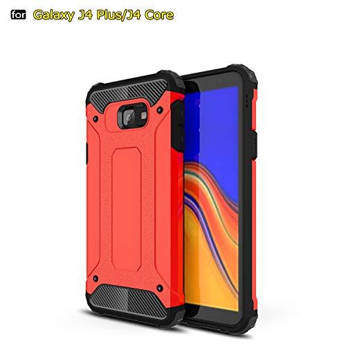 TiHen Luxury Funda Carcasa [Armadura Delgada] [Doble Capa] [Protección Pesada] 360 Grados Todo Incluido protección Funda para Samsung Galaxy J4 Core Funda + Regalo Vidrio Templado 2 Piezas(Rojo)
