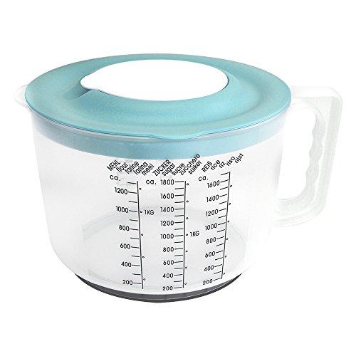 com-four® Messbecher mit Spritzschutzdeckel in bunten Farben [Farbauswahl variiert], 2100 ml (001 Stück - Messbecher mit Spritzschutz)