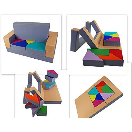 millybo Sofá de juegos 4 en 1, sofá infantil, sofá puzzle, colchón de juego para habitación infantil, muebles para niños, acolchado (gris/beige)