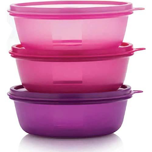 TUPPERWARE pink, lila Überbleibsel Schüssel Set Aufbewahrungsbox Food Container (600ml x 3).