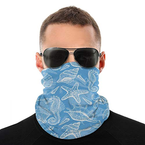 Variety Head Scarf Bandana Face Cover Doodle Style Aquatic Pattern Shellfishes And Seahorse Retro Animal Design Marine Dustproof Windproof Variety Head Scarf Balaclava For Women Men