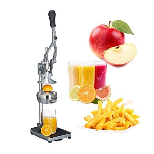 Relaxdays Profi Saftpresse manuell 3in1 Pommesschneider, Apfelschneider, Orangenpresse HBT: 47,5x17,5x40,5 cm, Edelstahl