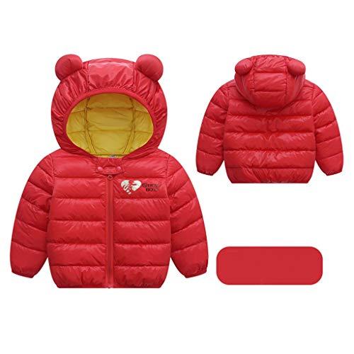 Livoral Kinder Jungen Mädchen Wintermäntel Jacke Kinder Reißverschluss Dicke Ohren Schnee Kapuze Outwear(B-Rot,120)