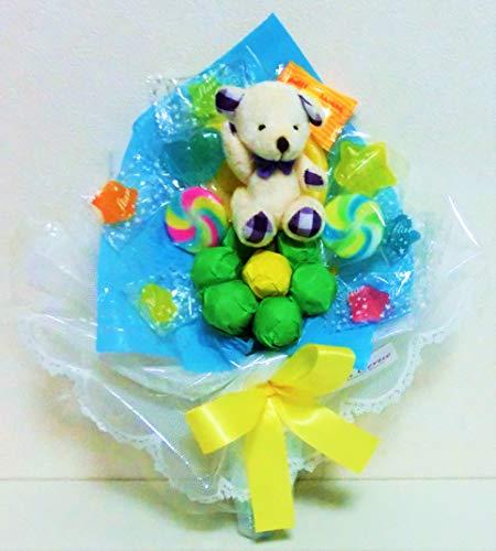 キャンディーブーケ 手持ちSサイズ シロクマさん(パープル)発表会 花束 (ブルー)
