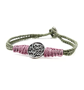 Charm Bracelet for Fertility & Healthy Pregnancy on Khaki & Pink Macramé Bracelet with Sterling Silver Coin Amulet - Jewelry Gift for Expecting Mom - 7  Length