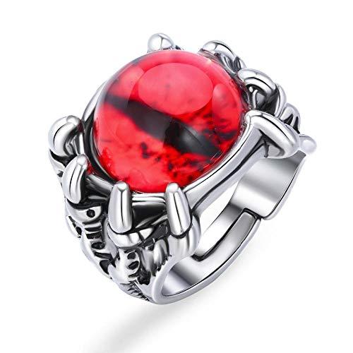 Graysongms - Anillo ajustable con diseño de ojo de diablo rojo para mujer y hombre, diseño de ojo rojo