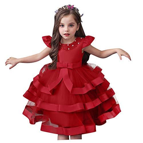Moent Girls Outfits&Set,Floral Kids Girls Princess Bridesmaid Pageant Gown Birthday Party Wedding Dress,Flower Girl Dresses For Weddings(Red-1-2 Years)
