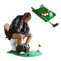 2セットトイレゴルフトイレパターゲーム、ゴルフトレーナーバスルームゲームミニゴルフセットゴルフパッティングノベルティセットトイレでゴルフをする