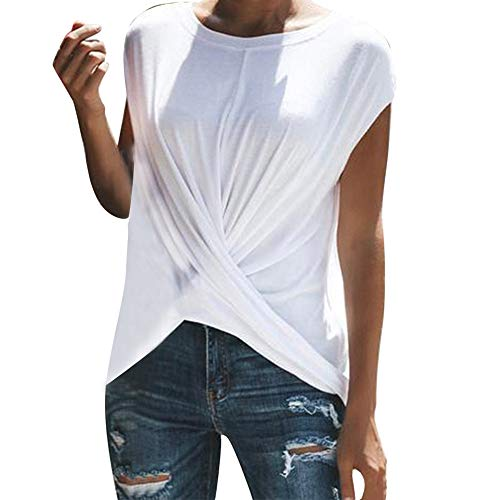 Moda para Mujer Sólido O-Neck Dance Camiseta de Manga Corta con Pliegues Deportivos Camiseta