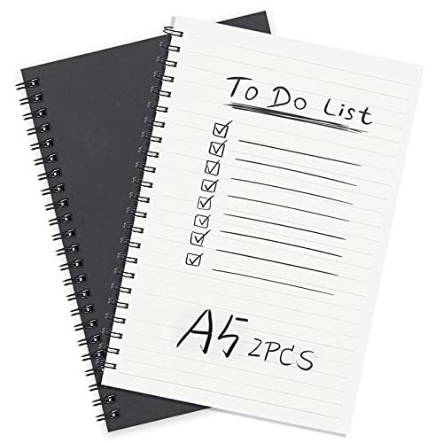 Bloc de Notas Espiral A5 Cuaderno Forrado, Pequeña Cuaderno de Notas Con Líneas, Cubierta de NegraLineado y Punteado de Diarios - Set de 2 - Perfecto para Viaje, Escolar Escribir