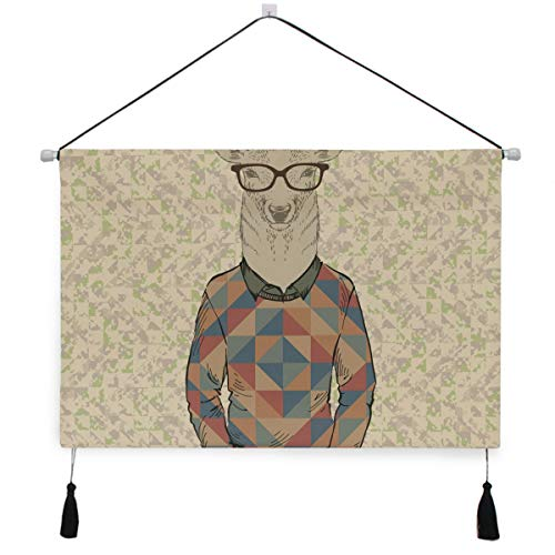 Hulahula Cool Hipster Deer Wall Art Hanging Canvas Print Painting Artwork Poster Pictures for Living Room Bedroom Home Office Decor