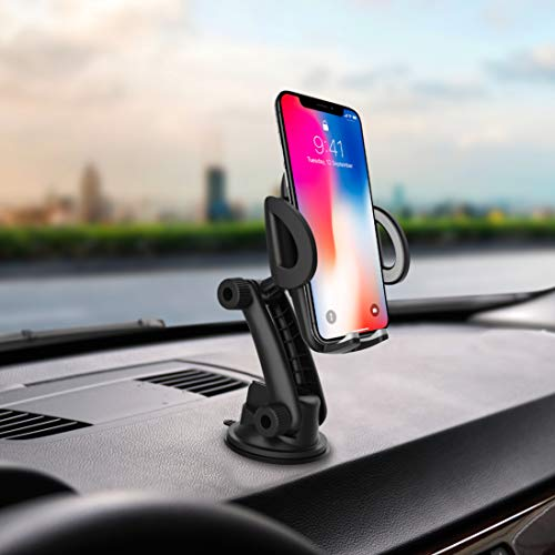 Car Phone Holder Mobile Phone Mount quickw Universal Phone Holder Compatible iPhone Xs XS Max XR X 8 8 Plus 7 7 Plus Samsung S20 Ultra Dashboard Windshield Strong Suction 2020 Upgraded (Grey)