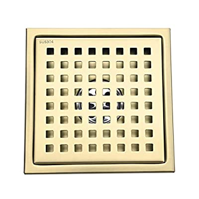 SHAMANDA 6-Inch Square Shower Drain with Removable Tile Insert Cover, SUS304 Stainless Steel Shower Floor Drain, Brushed Gold, SD101-3