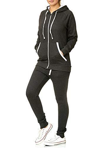 Violento Damen Jogging-Anzug | Uni 704 (S-fällt groß aus, Anthrazit-Weiß)