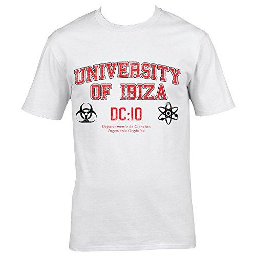 University of Ibiza Departamento de Ciencias Camiseta Hombre - Blanco, XL - Extra Large