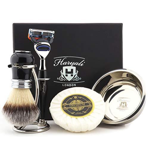 Haryali London Heren Luxe Zwart Scheren Kit 5 Rand Scheermes met Synthetische Badger Haar Scheerborstel, Standaard, Zeep en Bowl Perfect Gift Set voor Mannen