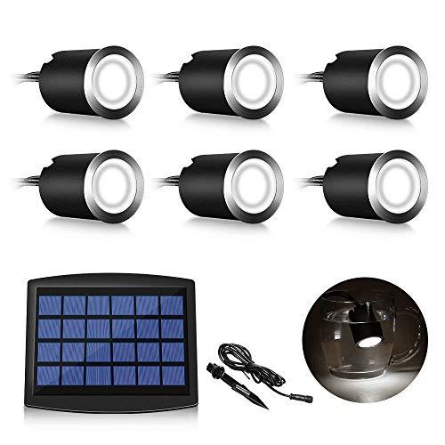 Martll LED Solar Einbaustrahler, 6er Set LED Einbauleuchten IP67 Wasserdicht LED Außenbeleuchtung,Badestrahler,Deckenstrahler für Garten, Hofstufen, Treppe, Terrasse, Boden (Natürliches Weiß)