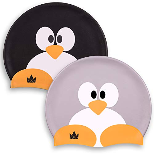 The Friendly Swede Cuffie da Nuoto in Silicone per Adulto e Bambino (2 Pezzi) (Coppia di Pinguini)