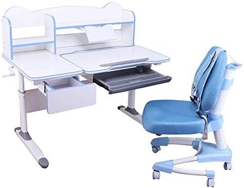 YYhkeby Juego de mesa infantil de madera para estudiar y silla multifuncional para estudiar estudiante, escritorio y silla con cajón y escritorio para niños (color: rosa) Jialele (color: azul)
