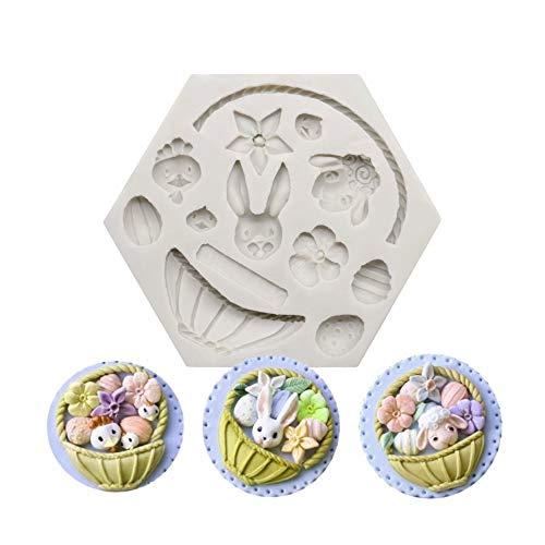 CUIJU Molde para tartas de Pascua, conejo, cesta de flores, forma de cesta de flores, molde de silicona (12 x 10,5 x 1,5 cm)