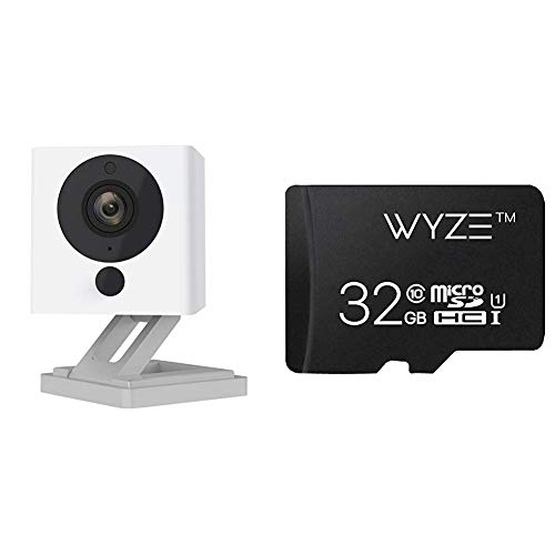 Wyze Cam 1080p HD Indoor Wireless Smart Home Camera with Night Vision, 2-Way Audio, Works with Alexa (Pack of 2)&SanDisk Ultra 32GB microSDHC UHS-I card with Adapter-98MB/s U1 A1 - SDSQUAR-032G-GN6MA