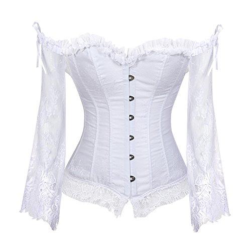 Grebrafan Gothic Korsett Bauchweg Corsage Taillen Korsett Dirndl Bluse Trachten Shirt (EUR(40-42) 2XL, Weiß)