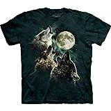 The Mountain Kurzarm-T-Shirt mit 3 Wölfen und Mond Gr. L, dunkelgrün