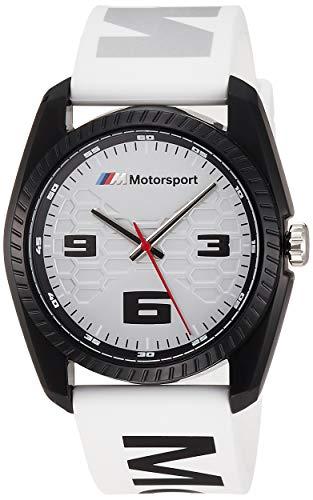 BMW - Reloj analógico M Motorsport de Cuarzo con Correa de Silicona Blanca para Hombre BMW1012