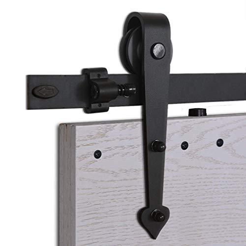 CCJH 8FT-242cm Schiebe Holz Scheunentor Hardware Schiene Rolle Kit für Single Schiebetür Holz Tür Heart Shaped