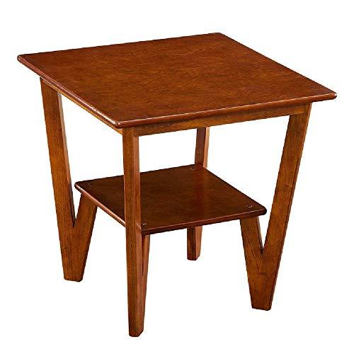 Carl Artbay Home&Selected Furniture/ruimte bijzettafel woonkamer massief hout salontafel hoek tafel slaapkamer nachtkastje 2 lagen geheugen eindtafel (kleur: bruin)