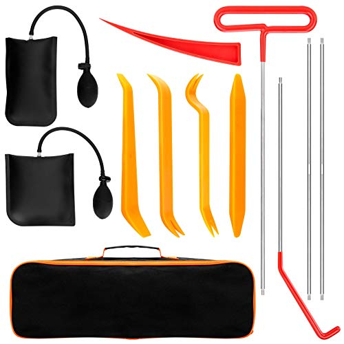SILIVN Full Professional Automotive Car Tool Kit with Dent Removal Rods Tools, Air Wedge, Non Marring Wedge and PVC Bag for Cars Truck