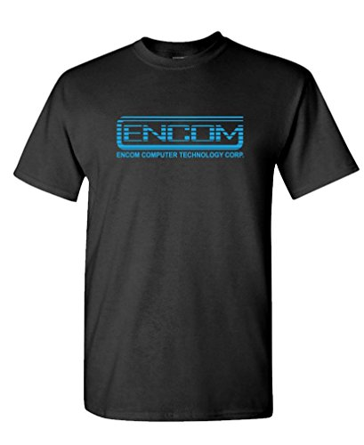 The Goozler ENCOM - Retro 80's Movie Evil Empire - Mens Cotton T-Shirt, XL, Black USA Made