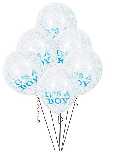 Unique Party-Paquete de 6 globos confetti para Baby Shower It's a Boy, color azul, 30 cm (58111)