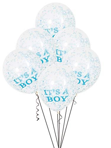 """Unique Industries 30,5 cm Konfetti-Luftballons """"It's a Boy"""", 6 Karat, transparent"""