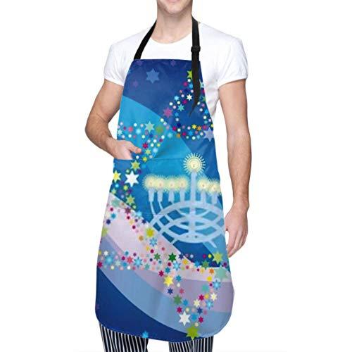 Unisex Schürze, wasserdicht langlebig verstellbar abstrakte Hintergrund Sterne David Menorah Kochschürzen Grill Schürzen für Männer zum Geschirrspülen Grill Grill Garten