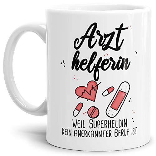 Tassendruck Berufe-Tasse Superheldin Arzthelferin - Kaffee-Tasse mit Spruch/Arbeit/Job/Lustig/Geschenk-Idee - Weiß