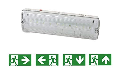 Specilights 8719699293564 Notbeleuchtung LED, Fluchtwegleuchte, Notlicht, Rettungszeichenleuchte, IP65, Notleuchte, Notausgang Leuchte 3W, 3 W, 220 V, Weiss und Grün