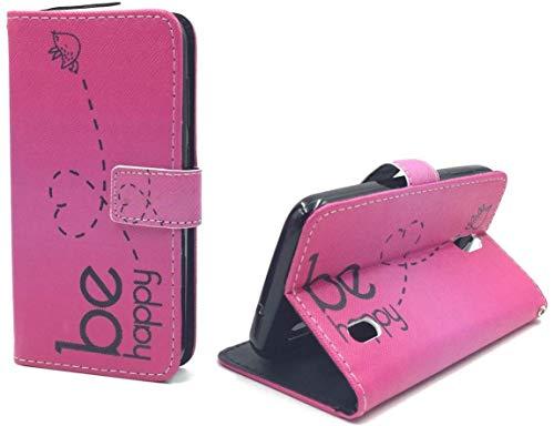 König Design Handyhülle Kompatibel mit Huawei Y625 Handytasche Schutzhülle Tasche Flip Hülle mit Kreditkartenfächern - Be Happy Design Pink