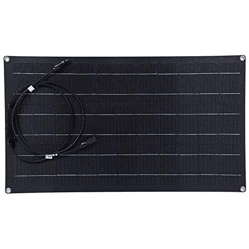 Oumefar Panel Solar Flexible, 50W 18V Panel Solar monocristalino Flexible Tablero de Carga liviano para RV, Barcos, techos, Furgonetas, Coches, Superficies Irregulares