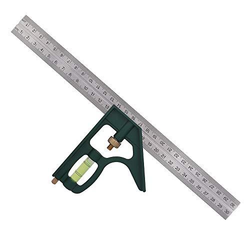 Escuadra Combinada Ajustable Regla de ángulo Cuadrado de Combinación Multifuncional de 45/90 Grados con Nivel de Burbuja para Herramientas de Carpintero 300 mm/12 Pulgadas