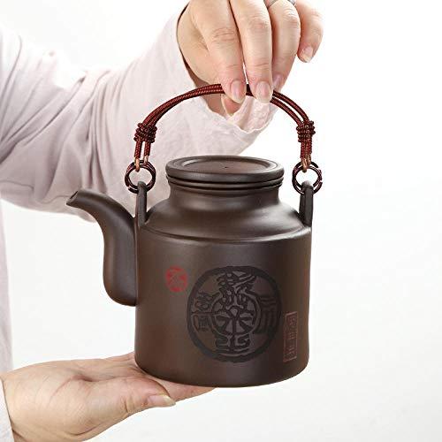 Purpurrote Lehm Teekanne 1St. Purple Clay Teekanne Zisha Große Kapazität Mit Filtergriff Handbemalte Teekanne Kessel Set 800 Ml