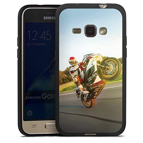 DeinDesign Silikon Hülle kompatibel mit Samsung Galaxy J1 (2016) Hülle schwarz Handyhülle Motorrad YouTube