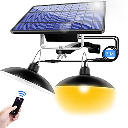 Lámpara solar exterior con mando a distancia, 16 ledes de luz solar colgante para jardín exterior con cable de 3 m, IP65, impermeable, aplique de pared para jardín,...