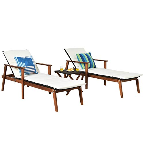 Tangkula Patio Chaise Lounge Sets, Outdoor Acacia Wood Chaise Lounger Chair w/ 4 Adjustable Back Position, Folding Table, 3 Piece Rattan Reclining Chair Set w/Cushion for Lawn Backyard (White)