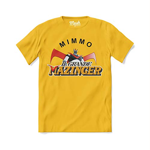 MUSH T-Shirt Mimmo Mazinger - Film Cult - Verdone -100% Cotone Organico, Uomo, Giallo