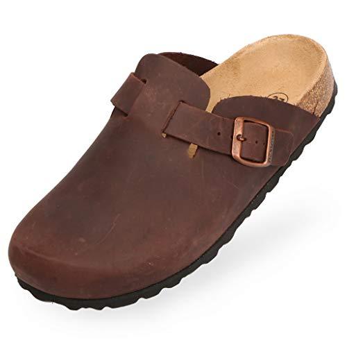 BOnova Wesel: Lederpantoffel dunkelbraun in Größe 45. Hausschuhe aus Echtleder (Nubuk), mit Kork-Fußbett, hergestellt in der EU.
