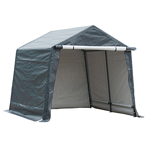 Abba Patio Storage Shelter 10 x 10- Feet Outdoor Carport Shed Heavy Duty Car Canopy, Grey